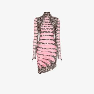 MAISIE WILEN Stripe and animal print turtleneck dress