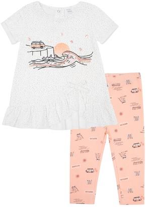 Petit Lem Venice Beach Short Sleeve Dress & Leggings Set (Baby Girls)