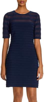 Adrianna Papell Illusion Pintucked Sheath Dress