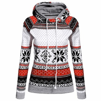 YiMiny Pullover for Women Plus Size Sweatshirts Christmas Printed Hoodies Xmas Ladies Tops Jumper Red