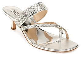 Badgley Mischka Women's Zena Crystal Embellished Mid Heel Sandals