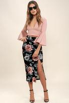 MinkPink Mink Pink Garden of Eden Black Floral Print Velvet Midi Skirt