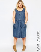 Asos Soft Denim Midi Pinafore Dress with Patch Pockets