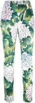Dolce & Gabbana hydrangea print trousers - women - Cotton/Spandex/Elastane - 40
