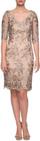 Thumbnail for your product : La Femme V-Neck Sheer Half-Sleeve Embroidered Sheath Dress