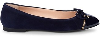 Stuart Weitzman Gabby Suede & Patent Leather Ballet Flats