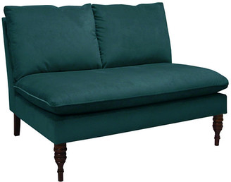 One Kings Lane Bacall Settee - Peacock Velvet - frame, espresso; upholstery, emerald green