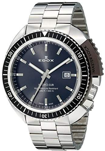 Edox Men's 53200 3NGM GIN Hydro Sub Analog Display Swiss Quartz Silver Watch