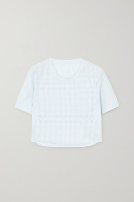 The Upside Track Cropped Perforated Stretch-jersey T-shirt - Light blue