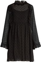 See by Chloe Polka-dot flocked georgette dress