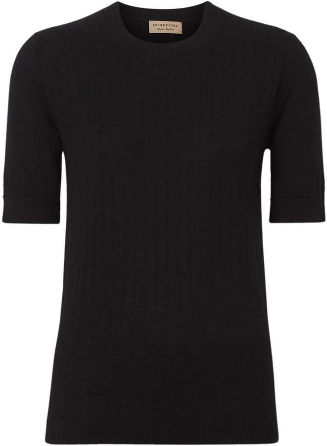 Burberry Short-sleeve Rib Knit Cashmere Sweater