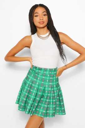 boohoo flanneled Pleated Tennis Skirt