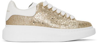 Alexander McQueen Gold Glitter Oversized Sneakers