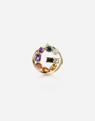 Dolce & Gabbana Rainbow Alphabet G 18 Kt Yellow Ring With Multicolor Fine Gems