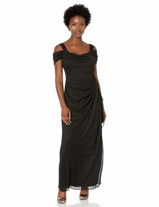 Alex Evenings Women's Petite Long Mesh Cold Shoulder Dress