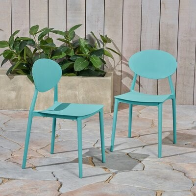Ebern Designs Belford Stacking Patio Dining Chair Color Teal Shopstyle Home Living