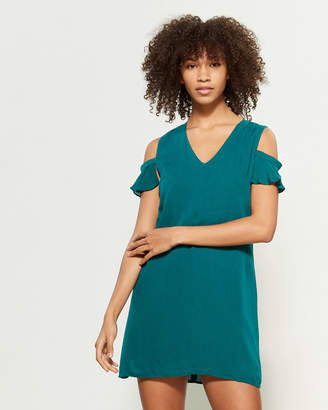 Apricot Teal Cold Shoulder Mini Dress