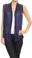 Vialumi Women's Juniors Solid Sleeveless Draped Cardigan Vest Grey