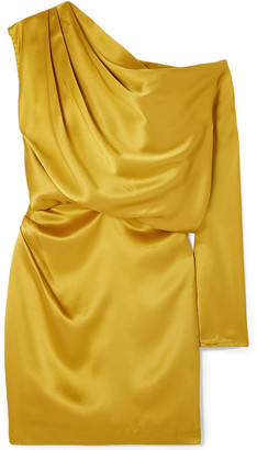 Mason by Michelle Mason One-shoulder Draped Silk-charmeuse Mini Dress