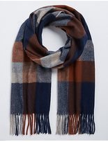 M&S Collection Exploded Checked Wool Woven Scarf