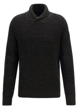 Rib-knit sweater with shawl collar and raglan sleeves