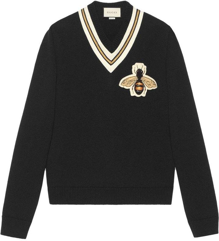 Gucci Wool sweater with bee appliqué