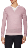 Z Zegna Wool Ribbed V-Neck Sweater