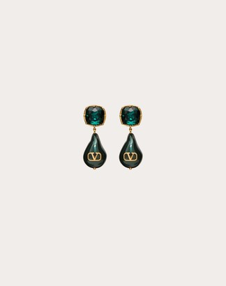 Valentino Vlogo Signature Earrings With Pearls And Crystals Women Gold/emerald Brass 100% OneSize