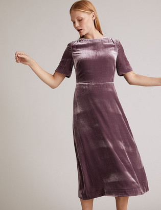 Marks and Spencer Velvet Midi Waisted Dress with Silk