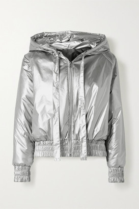 Norma Kamali Hooded Quilted Metallic Shell Bomber Jacket - Silver
