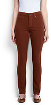 Lands' End Women's Mid Rise Slim Leg Jeans-Rich Red Windowpane