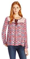 Jolt Women's Printed Yoke 3/4 Sleeve Peasant Blouse with Front Neck Ties