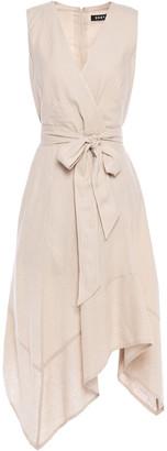 DKNY Asymmetric Belted Slub Linen-blend Midi Dress