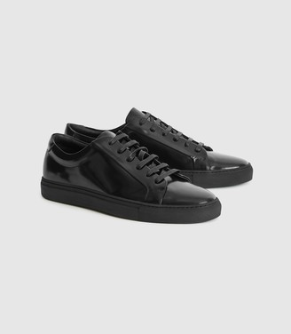 Reiss Luca - High Shine Leather Trainers in high-shine Black