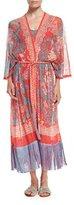 Fuzzi Fringed Long-Sleeve Kimono Robe, Pink