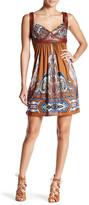 Sky Prudy Silk Print Genuine Leather Trim Dress