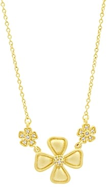 Freida Rothman Harmony Triple Flower Pendant Necklace in 14k Gold-Plated Sterling Silver, 16
