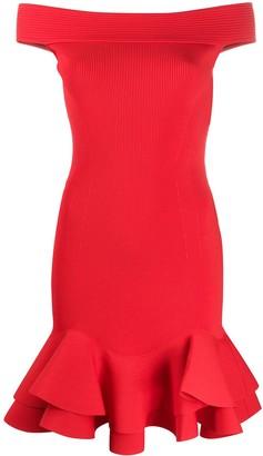Alexander McQueen Ruffled Hem Off-Shoulder Dress
