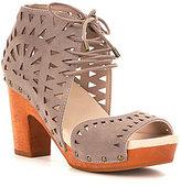 Jambu Simone Leather Lasercut Lace Up Block Heel Wood Sandals