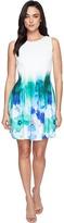 Calvin Klein Sleeveless Fit Flare Border Print Dress CD7MHA6U Women's Dress