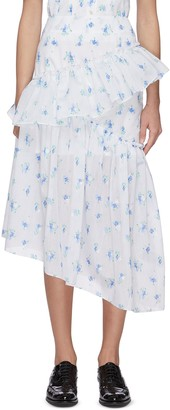 Ming Ma Floral embroidered asymmetric hem ruffle skirt