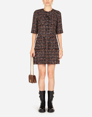 Dolce & Gabbana Short Dress In Tweed With Horn Buttons