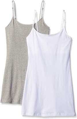 Pure Style Girlfriends Women's Long Cami Tank with Built in Bra and Adjustable Strap 2-Pack