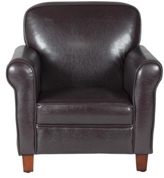 HomePop Kids Faux Leather Accent Chair with Rolled Arms, Brown