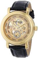 Akribos XXIV Men's AK634YG Retro Automatic Skeleton Gold-tone Stainless Steel Black Leather Strap Watch