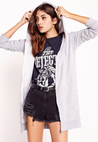 Missguided Longline Zip Through Hoodie Grey
