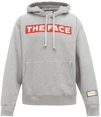 Gucci The Face Print Cotton Hooded Sweatshirt - Mens - Grey