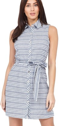 M&Co Izabel striped tie waist shirt dress