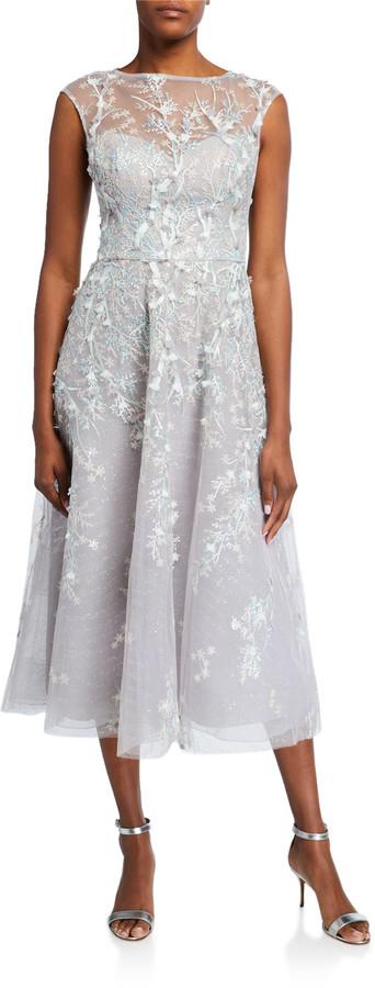 Rickie Freeman For Teri Jon 3D Embroidered Midi Tulle Dress