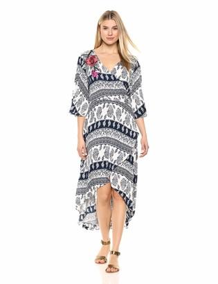 Tribal Women's Crinkle Gauze Faux Wrap Dress w/Embroidery